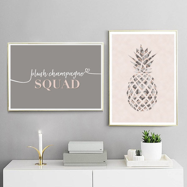 Blush Champagne Squad Art Print - Rock Salt Prints Inc