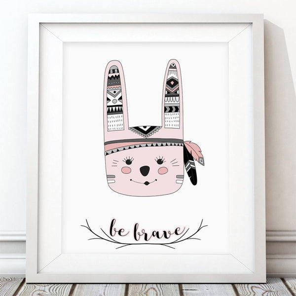 Be Brave Bunny - Girl Nursery Art Print - Rock Salt Prints Inc