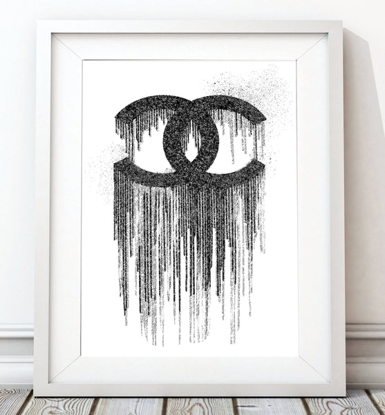 Coco Black & White Rain - White Background - Rock Salt Prints Inc