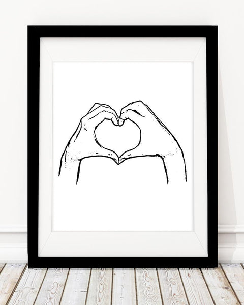 Heart Shape Hand - Monochrome Art Print - Rock Salt Prints Inc