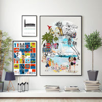 Ibiza Retro City Print - Rock Salt Prints Inc