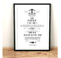 In Order To be Irreplaceable - White Art Print - Rock Salt Prints Inc