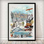 Newcastle Retro City Print - Rock Salt Prints Inc