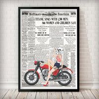 Pin Up Stormtrooper on Red Bike Art Print - Rock Salt Prints Inc