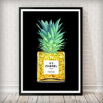 Pineapple in a Perfume bottle Fashion Art Print in black - Rock Salt Prints Inc