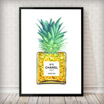 Pineapple in a Perfume bottle Fashion Art Print in white - Rock Salt Prints Inc