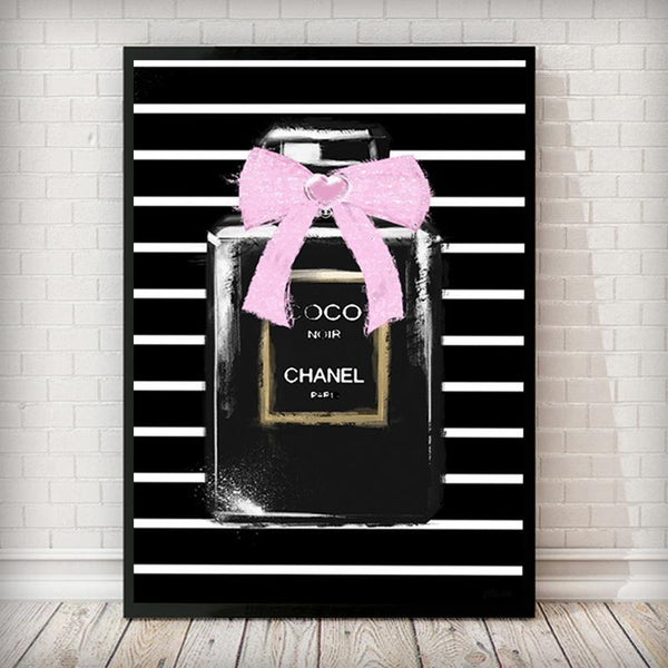 Coco Black Bottle Pink Bow Fashion Art Print - Rock Salt Prints Inc