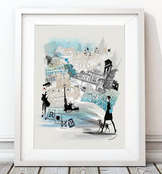 Rome Retro City Print - Rock Salt Prints Inc