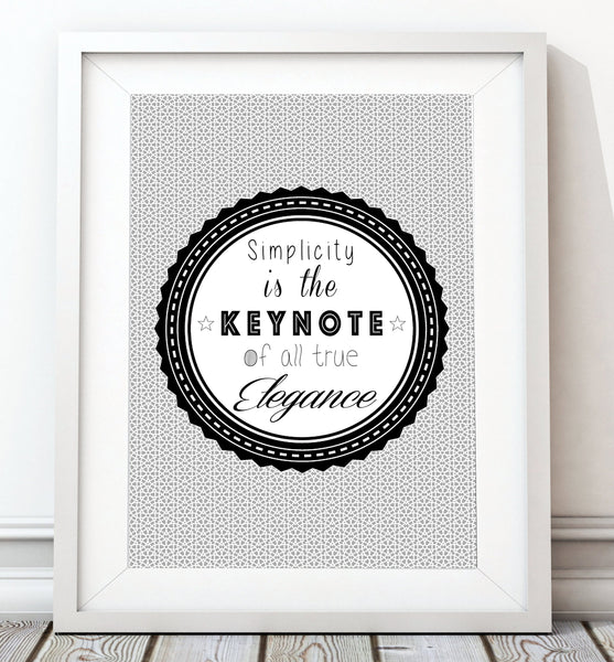 Elegance - Grey Typography Art Print - Rock Salt Prints Inc