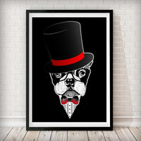 Sir Sean Connery - Boston Terrier Art Print - Rock Salt Prints Inc