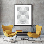 Triangles Abstract Black & White - Art Print - Rock Salt Prints Inc