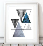 Triangles Abstract - Nature Elephant Art Print - Rock Salt Prints Inc