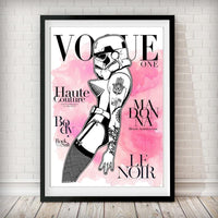 VOGUE Cover - Stormtrooper Madonna Pink Watercolor Art Print - Rock Salt Prints Inc