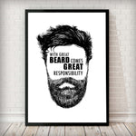 With great beard comes great responsibility - Typography Art Print - Rock Salt Prints Inc