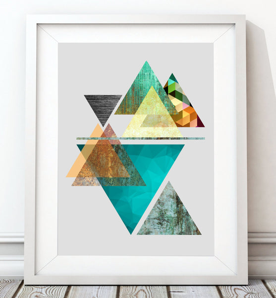 Triangles Abstract - Aqua Art Print - Rock Salt Prints Inc