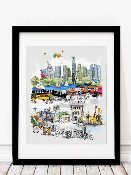 Austin Retro City Print - Rock Salt Prints Inc