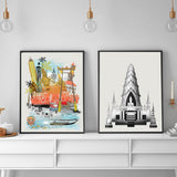 Bangkok Retro City Print - Rock Salt Prints Inc