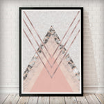Triangles Abstract - Blush Pink and Marble Art Print - Rock Salt Prints Inc