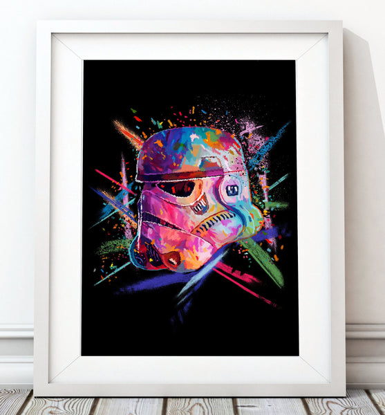 Crayon Style Stormtrooper Pink - Star Wars Inspired Art Print - Rock Salt Prints Inc