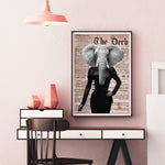 Elephant Lady - Old News Paper Art Print - Rock Salt Prints Inc