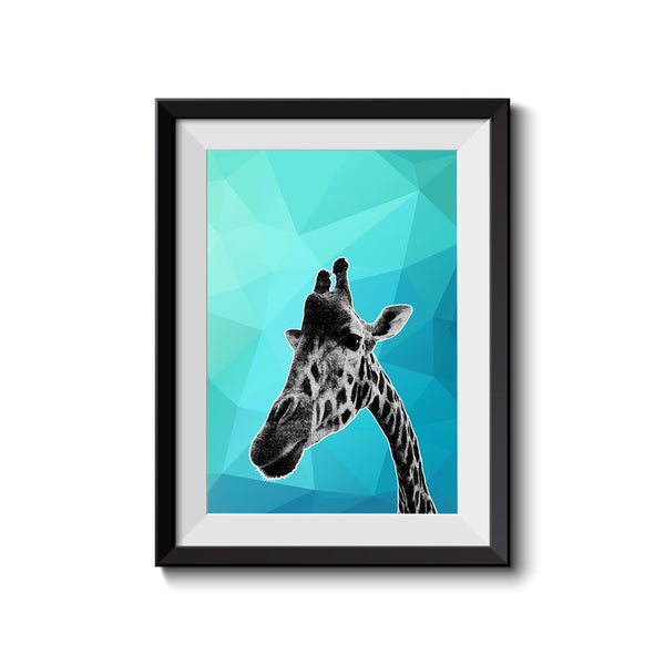 Giraffe Blue Abstract 003 Art Print - Rock Salt Prints Inc