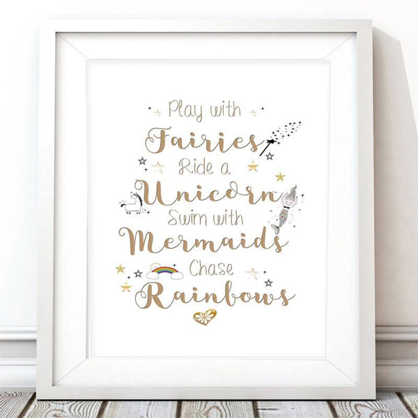 Play with Fairies Nursery Art Print - Rock Salt Prints Inc