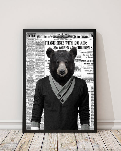 Bear Dude - Old News Paper Art Print - Rock Salt Prints Inc