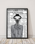 Ostrich Chic - Old News Paper Art Print - Rock Salt Prints Inc