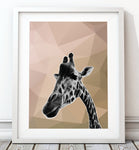 Giraffe Beige Abstract 003 Art Print - Rock Salt Prints Inc
