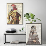 Old Dictionary Collection - Rooster Art Print - Rock Salt Prints Inc