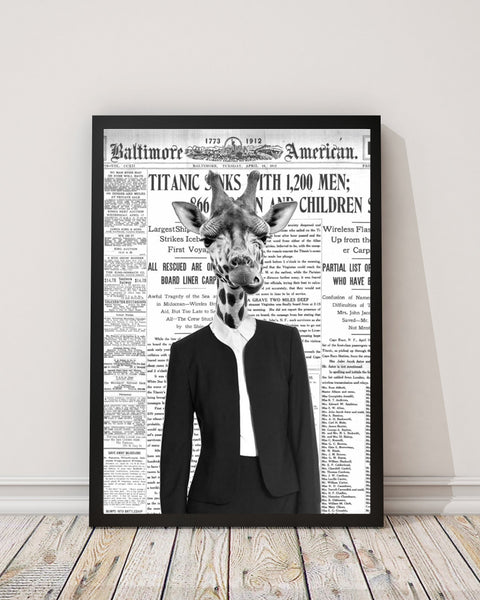Giraffe Lady - Old News Paper Art Print - Rock Salt Prints Inc