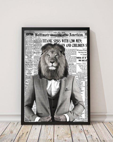 Lion Gentleman - Old News Paper Art Print - Rock Salt Prints Inc