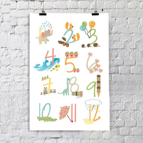 Nursery Numbers Art Print - Rock Salt Prints Inc