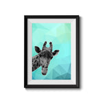 Giraffe Blue Abstract 002 Art Print - Rock Salt Prints Inc