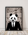 Panda Guy - Old News Paper Art Print - Rock Salt Prints Inc