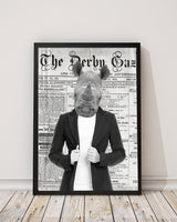 Rhino Kid - Old News Paper Art Print - Rock Salt Prints Inc