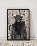 Bull Dude - Old News Paper Art Print - Rock Salt Prints Inc