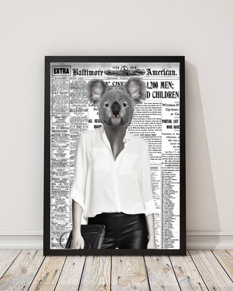 Koala Belle - Old News Paper Art Print - Rock Salt Prints Inc