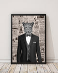 Leopard Gentleman - Old News Paper Art Print - Rock Salt Prints Inc