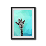 Giraffe Blue Abstract 001 Art Print - Rock Salt Prints Inc