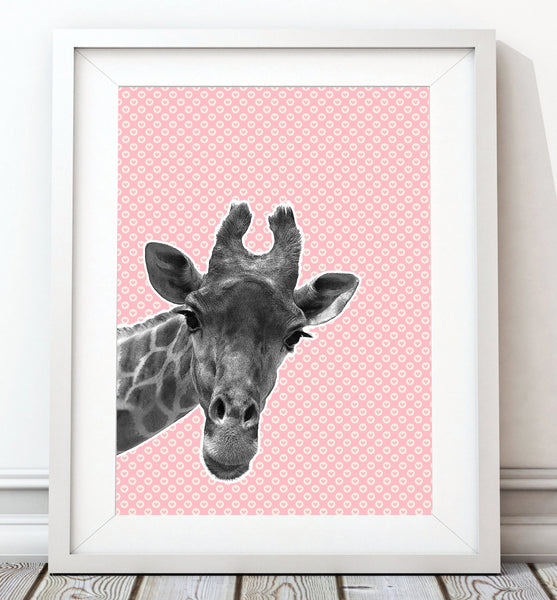 Giraffe Pink Heart Art Print - Rock Salt Prints Inc