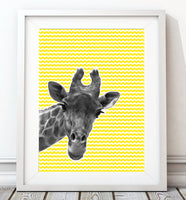 Giraffe Yellow 002 Art Print - Rock Salt Prints Inc