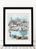 Glasgow Retro City Print - Rock Salt Prints Inc