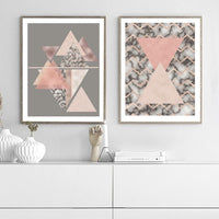Triangles Abstract - Rose Gold Art Print - Rock Salt Prints Inc