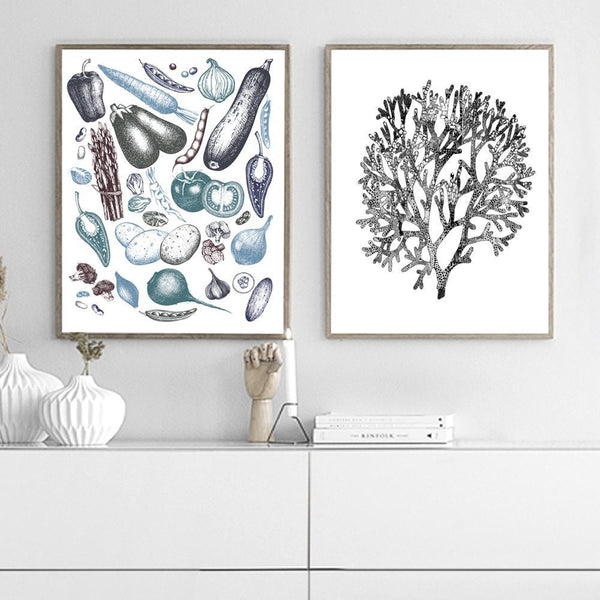 Vegetables Blue / Black Art Print - Rock Salt Prints Inc