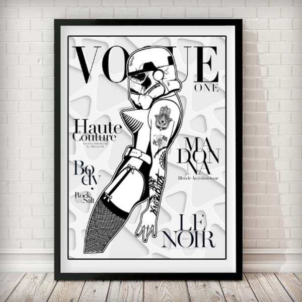 VOGUE Cover - Stormtrooper Madonna White 3D Art Print - Rock Salt Prints Inc