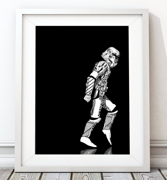 Moonwalker Stormtrooper Portrait - Star Wars Inspired Art Print - Rock Salt Prints Inc