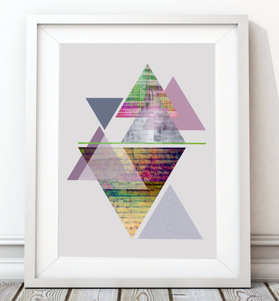 Triangles Abstract - Purple Art Print - Rock Salt Prints Inc