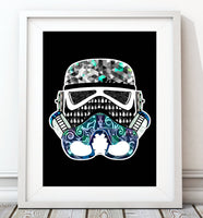 Stormtrooper Helmet Collection - Blue/Back Print - Rock Salt Prints Inc