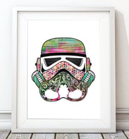 Stormtrooper Helmet Collection - Green/Pink Print - Rock Salt Prints Inc